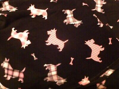 Scottie dog Fleece black PINK FABRIC DIY BY THE YARD