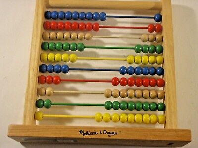 Educational Abacus by Melissa & Doug Item #493 Wood Frame 100 Painted Beads VGC