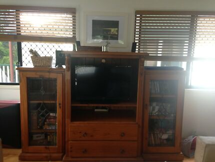 Three piece wall unit glass doors and wood doors | Entertainment ...