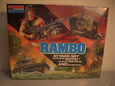 Monogram 1/48 Rambo Attack Set-Rambo Chopper and River Boat-Sealed, used for sale  Riverside