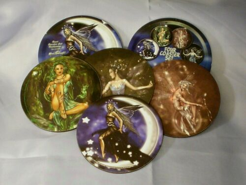 Renee Biertempfel Fairy Set of 4 Coasters Tin Box Moon Stars Green Witch Fantasy