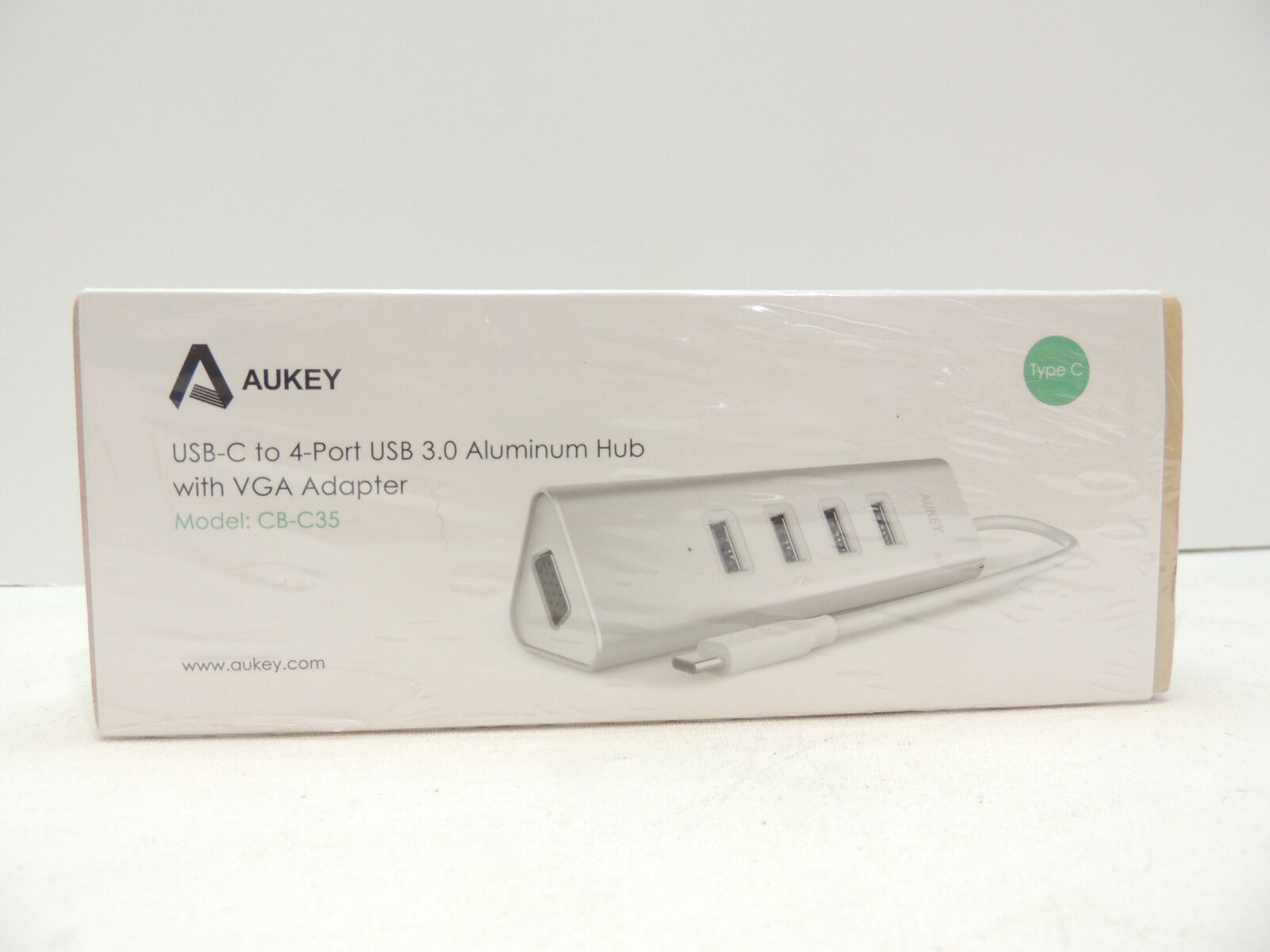 AUKEY 4-Port USB 3.0 USB-C Aluminum Hub with One VGA Port -