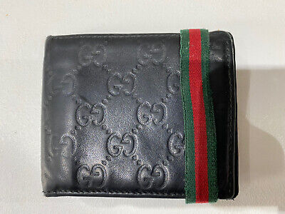 Mens Gucci Guccissima Black Wallet With Red & Green Band