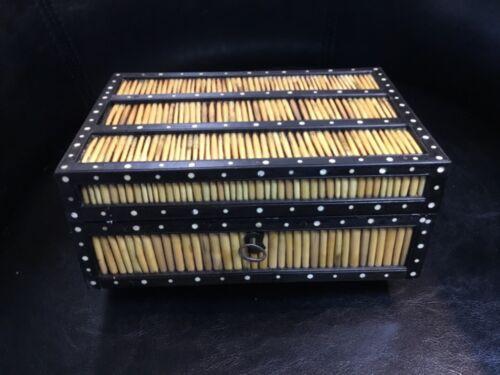 ANTIQUE PORCUPINE QUILL TRINKET BOX EBONY