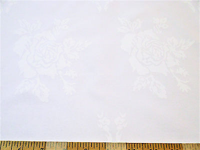 Discount Twill Tablecloth Fabric Home Decor Jacquard All Over Rose White DR51 - Discount Home Decor