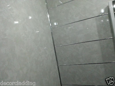 10 Light Grey Marble Bathroom Cladding Waterproof PVC Shower Panels Wet Walls
