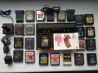 Atari 2600 Woodgrain Console w/ Joystick Power Adapter Cable Manual 24 Games
