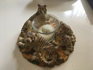Beautiful Tiger and cubs candle holder