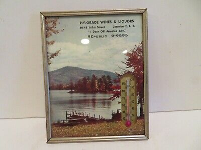 VINTAGE glass advertising thermometer HY-GRADE WINES & LIQUORS 1962 calendar