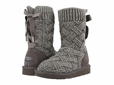 Kids UGG Lottie Knit Boot 1015342K Heathered Charcoal 100% Authentic Brand New