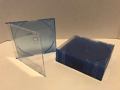 10pcs 7mm Slim Plastic Blue Case Holder DVD CD Disc Storage Cover