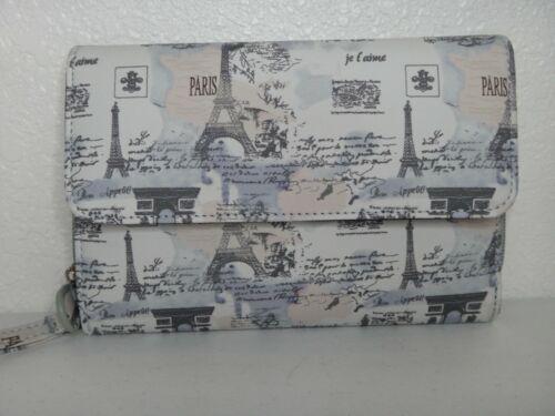 MUNDi Paris France Eiffel Tower Women Travel Wallet Clutch Wristlet Faux Leather