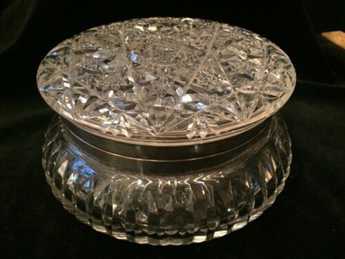 Antique Cut Crystal and Sterling Jewelry Casket Trinket Box american brilliant