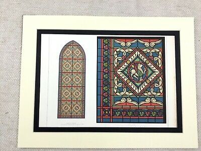 1857 Antique Chromolithograph Print Stained Glass Windows St Denis Abbey France
