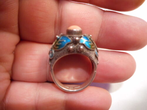 Antique 8mm Angel Skin Coral & Enamel Moth Sterling RING Size 7 Early Chinese