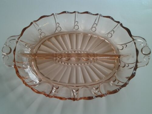 Vintage Oyster and Pearl, A-H Pink Depression Glass, Relish Dish with Handles