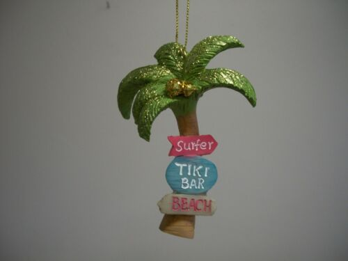 Tropical Palm Tree Surfer Tiki Bar Beach Signs XMas Ornament NWT