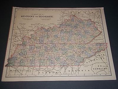 1891 KENTUCKY TENNESSEE Antique color state map original authentic