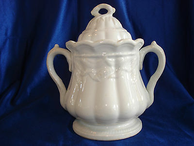 White English Ironstone Wheat & Cable Sugar Bowl