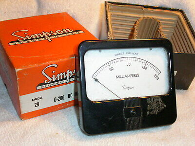 Vintage Simpson Model 29 Panel Meter 0-200 Dc Milliamperes