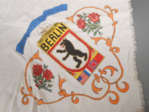 RARE German Germany Berlin Occupation Forces Commemorative Painted Silk Scarf