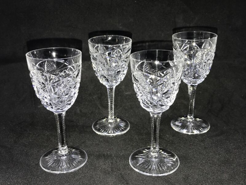 Rare! Retired Clear Lagny Baccarat Crystal Set of 4 Liqueur Cordial Shot Glasses