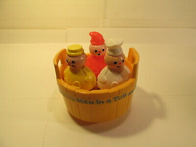 Vintage Fisher Price 3 Men In A Tub Bell Water Toy  t3722