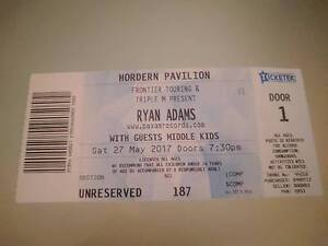 Ryan Adams ticket for Hordern Pavilion 27th May Clovelly Eastern Suburbs Preview