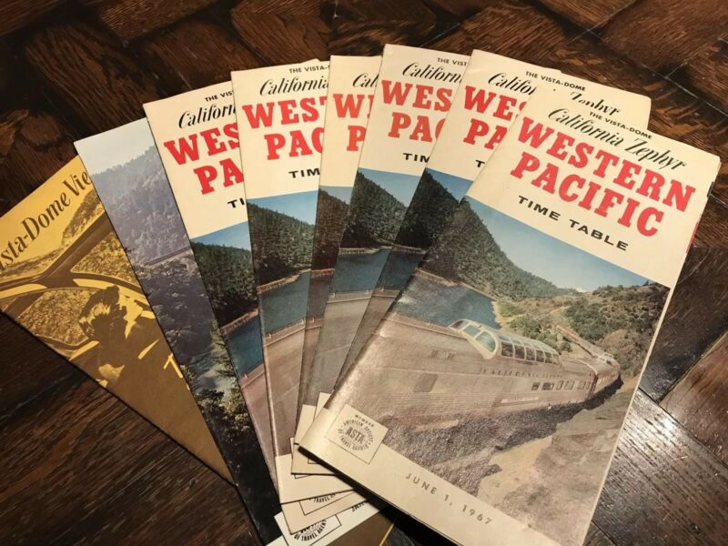 8 Vintage WESTERN PACIFIC Railroad Railway Train TIMETABLES California Zephyr