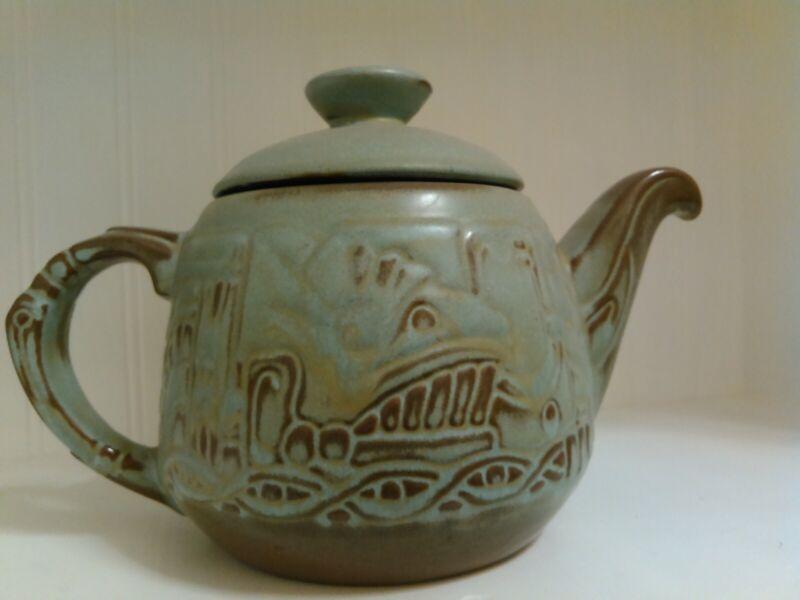 Vintage FRANKOMA Art Pottery Mayan Aztec Prairie Green Big Teapot Ceramic