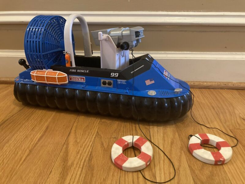 2003 Tonka Motorized Hovercraft Fire Rescue WORKING Rare Blue Complete