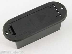BLACK 9 volt PP3 BATTERY BOX flat mounted for active pickups on electric guitar