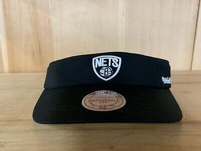 MITCHELL AND NESS BROOKLYN NETS VISOR HAT CAP ADJUSTABLE FIT ONE SIZE BLACK