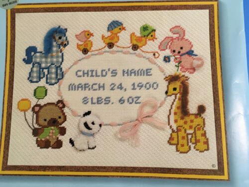 Needlepoint Kit My Toy Animals Baby Announcement 11x14 Sunset New Cute Rare