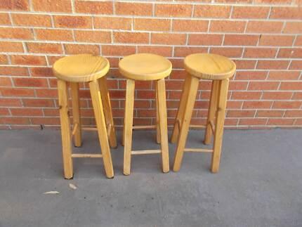 Wooden bar bench stools chairs x 2 | Stools & Bar stools | Gumtree ...