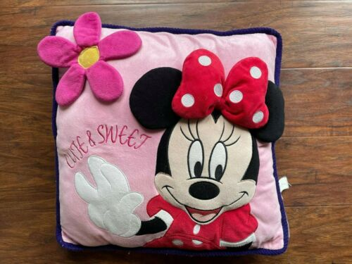 """pre-own great condition Original Disney MINNIE MOUSE 3D Pillow Pink 15"""" x15"""""""