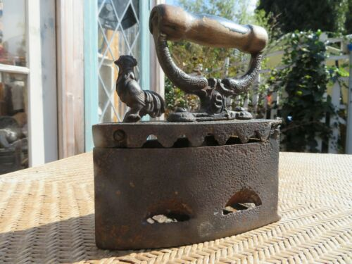 Antique Coal Iron Charcoal Rooster Latch Sad Iron Wooden Handle w/ Heavy Patina
