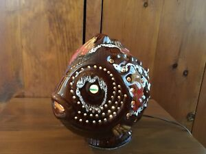 One of a kind Vintage Ceramic Fish that Lights up marble eyes