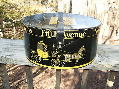 Vintage Dobbs Fifth Avenue Oval Hat Box With Original Black Leather Strap