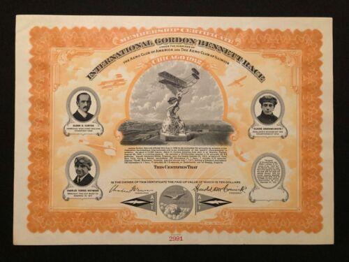INTERNATIONAL GORDON BENNETT RACE MEMBERSHIP CERTIFICATE RARE AVIATION 1912