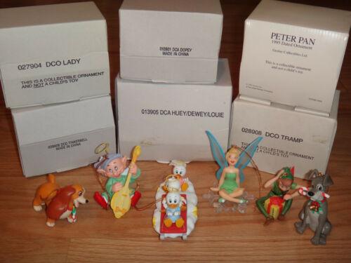 Grolier Disney Ornament Lot Peter Pan Tinker Bell Dopey Lady Tramo Huey/Dewey/Lo