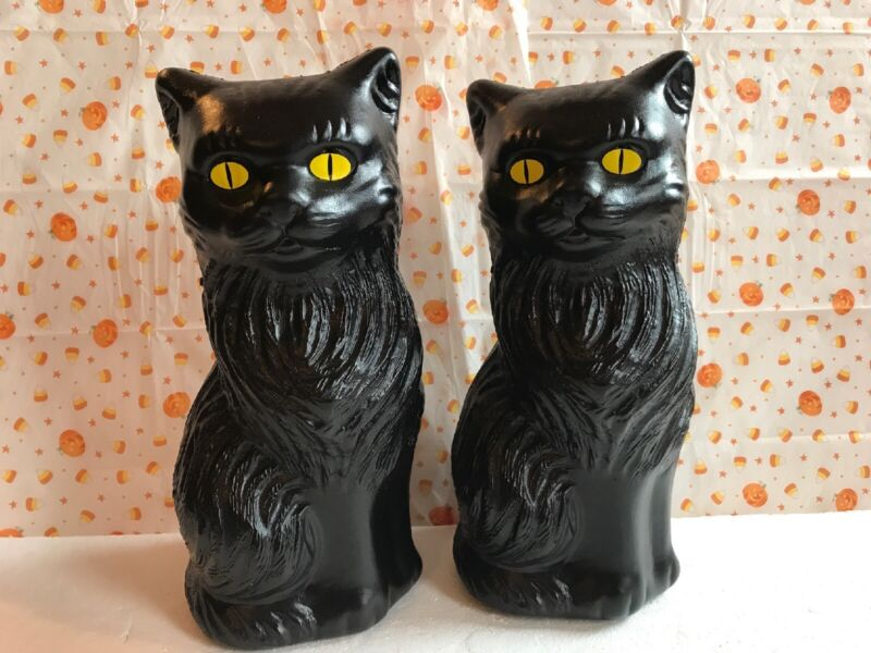 """Blow Mold Halloween Black Cats Decoration Yellow Eyes Union Products  Pair 11"""""""