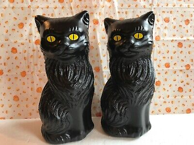 Blow Mold Halloween Black Cats Banks Yellow Eyes Union Products Pair 11""