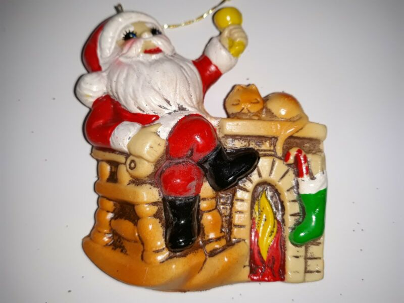 """Vintage Plastic Santa Claus in Chair Fireplace Kitty Christmas Tree Ornament 3"""""""