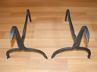 OLD VTG ANTIQUE 18TH CENTURY PAIR HAND FORGED IRON FIREPLACE HEARTH LOG SUPPORT