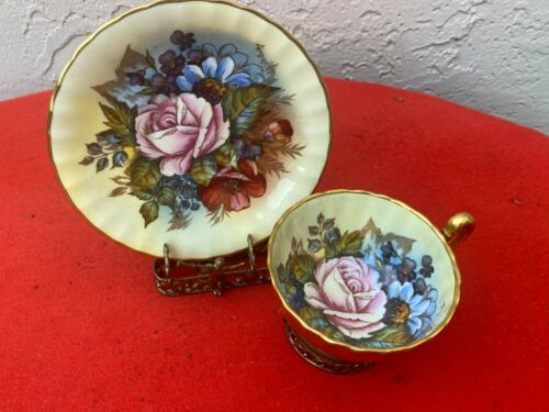 STUNNING AYNSLEY GOLD TEACUP & SAUCER CABBAGE ROSE SIGNED J. A. BAILEY