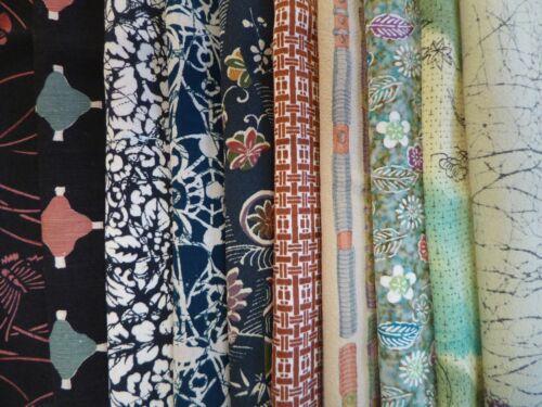 #20 Vintage Japanese Kimono Silk Scrap Remnants, 10 Piece Bundle