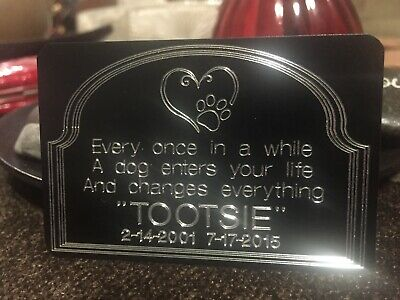 2x 3 Custom Engraved Pet Memorial Urn Plaque Art Plaque Dog Cat Pet Tag