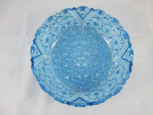 """Rare Antique AJ Beatty Glass Blue Daisy & Button Bowl 9"""""""