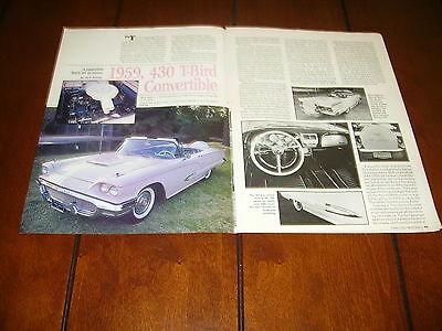 1959 FORD THUNDERBIRD T-BIRD  ***ORIGINAL 1988 ARTICLE***